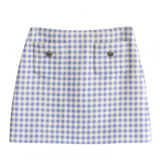 Prada blue gingham wool mini skirt
