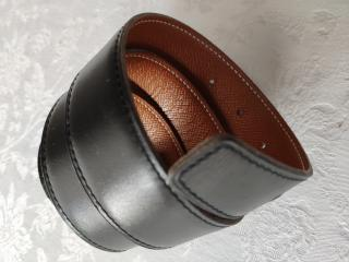 Hermes Black & Gold Reversible Belt in Epsom & Togo Leather