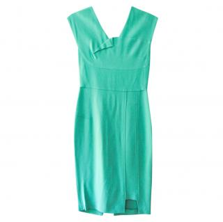 Roland Mouret teal fitted bodycon knee-length dress