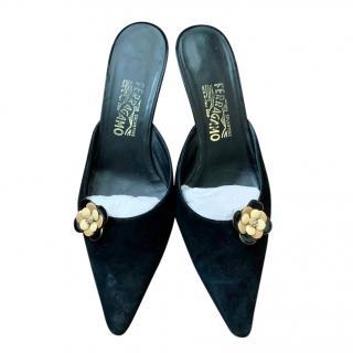 Salvatore Ferragamo black suede heeled mules