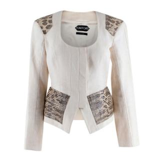 Tom Ford Cream Linen Jacket with Lizard Embossed Patches