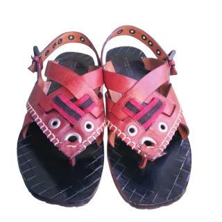 Bottega Veneta red leather sandals