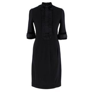 Yves Saint Laurent Wool Ruffle Trim High Neck Dress