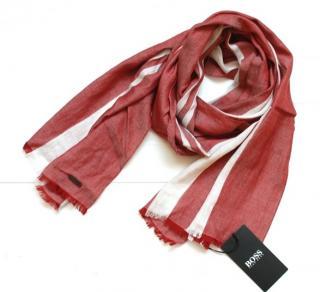 Hugo Boss burgundy & white scarf