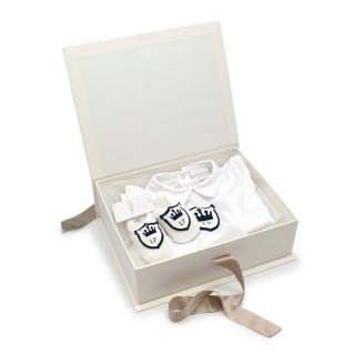 La Perla Gift Box with Royal Shield Soft Cotton Romper and Booties