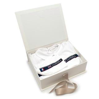 La Perla White Embroidered Soft Cotton Bodysuit and Hat Gift Box