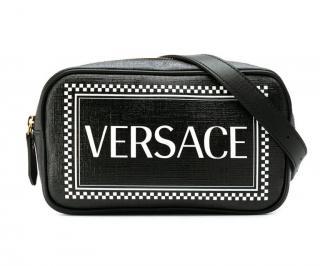 Versace black classic logo cross body bag