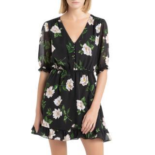 The Kooples black silk blend floral dress