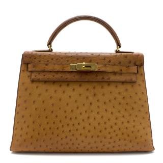 Herm�s Kelly Sellier 32 in Caramel Ostrich Leather GHW