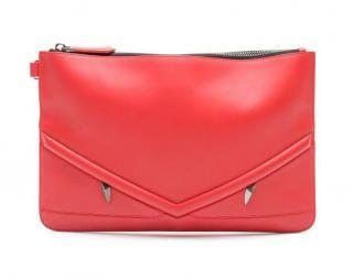 Fendi Bag Bugs eyes red leather pouch clutch bag