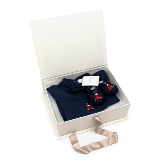 La Perla Soft Cotton Navy Soldier Romper and Booties Gift Box