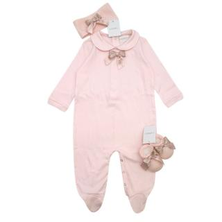 La Perla Pink Soft Cotton Bodysuit Gift Set with Booties and Headband