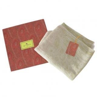 Etro beige paisley wool blend shawl