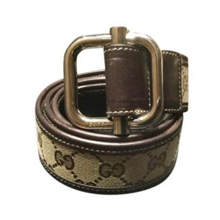 Gucci brown monogram canvas & leather belt