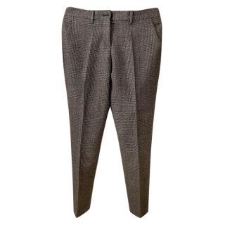 Miu Miu check pattern cropped slim fit wool trousers