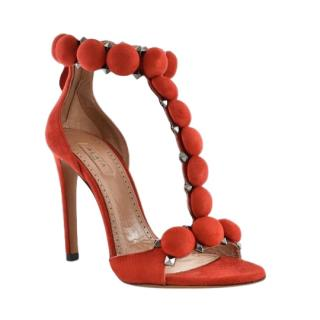 Alaia Chamois red bombe suede sandals
