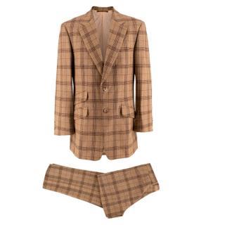 Bespoke Italian Tailored Virgin Wool Beige Single Breasted Check Suit