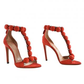 Alaia Chamois Bombe red suede heeled sandals