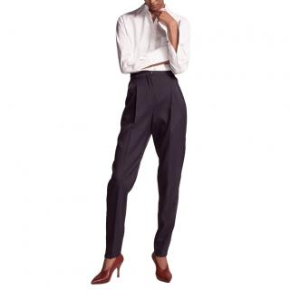 Another Tomorrow Single Pleat Trousers Midnight Blue