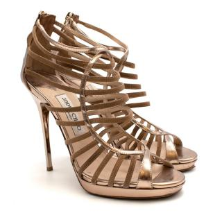 Jimmy Choo Rose Gold Metallic Leather Heeled Sandals