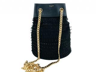 Elie Saab black suede textured bucket bag