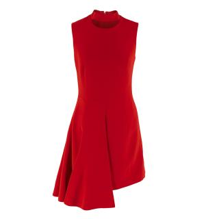 Versace Red Sleeveless Cut-Out Neck Skater Dress