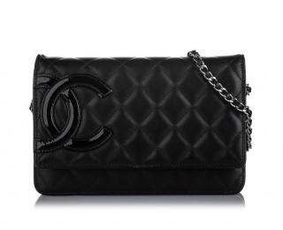 Chanel Cambon Ligne black leather wallet on chain
