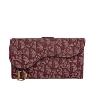 Dior Oblique Saddle red canvas wallet