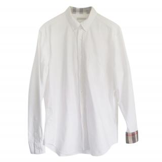 Burberry white cotton long-sleeved shirt