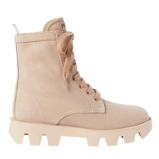 Prada Tan washed denim tan combat boots