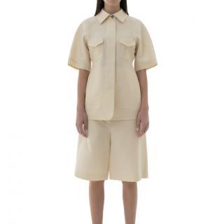 Lvir Silk Half Sleeve Cream Jacket