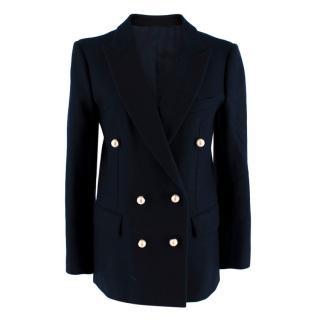 Celine Navy Wool Faux Pearl Blazer