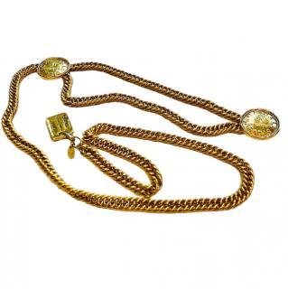 Chanel vintage medallion gold-tone chain link belt