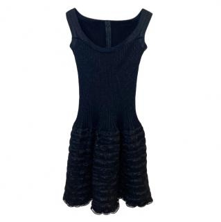 Alaia black sleeveless ruffle mini dress