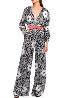Johanna Ortiz Black Floral Print Silk Long-Sleeve Jumpsuit