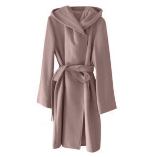 MaxMara pink wool silk & angora blend belted coat