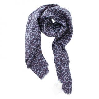 MaxMara blue wool animal print scarf