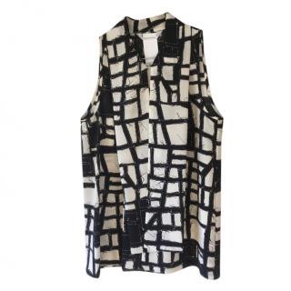 MaxMara black & white abstract patterned sleeveless top
