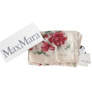 MaxMara cream floral rose silk scarf