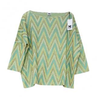 M Missoni green cotton blend zig zag blouse