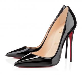 Christian Louboutin So Kate black patent leather pointed pumps