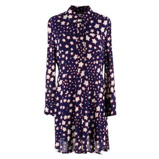 Saint Laurent Blue Midi Star Print Shirt Dress