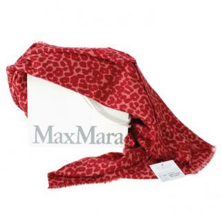 MaxMara red leopard print wool blend shawl