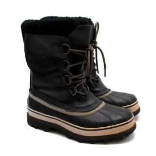 Sorel Black & Cream Lace-Up Winter Boots