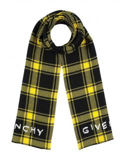 Givenchy Yellow Plaid Embroidered Silk & Wool Scarf