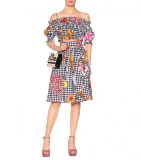 Dolce & Gabbana gingham cotton crop top & skirt