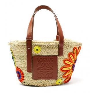 Loewe beige wicker floral embroidered bucket bag