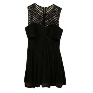 Sandro black net detail sleeveless dress