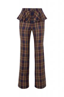PushBUTTON check straight leg trousers