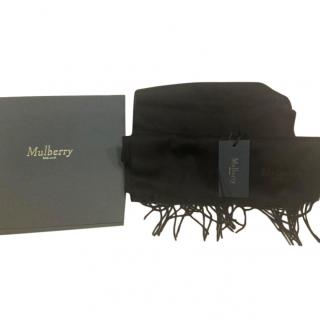 Mulberry black lambswool fringe scarf